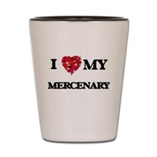 I love my Mercenary hearts design Shot Glass