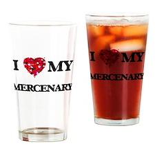 I love my Mercenary hearts design Drinking Glass