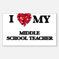 I love my Middle School Teacher hearts des Decal