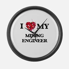I love my Mining Engineer hearts Large Wall Clock