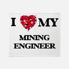 I love my Mining Engineer hearts des Throw Blanket