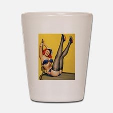Blue Pinup Shot Glass