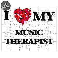 I love my Music Therapist hearts design Puzzle