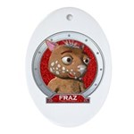 Fraz's Red Portrait Oval Ornament