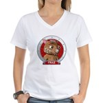 Fraz's Red Portrait Women's V-Neck T-Shirt