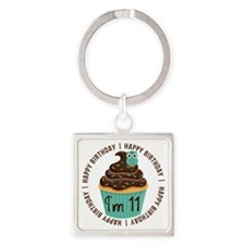 11th Birthday Cupcake Square Keychain