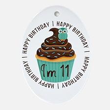 11th Birthday Cupcake Ornament (Oval)