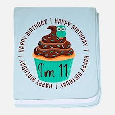 11th Birthday Cupcake baby blanket