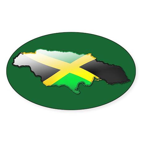 """Jamaica Bubble Map"" Oval Sticker"
