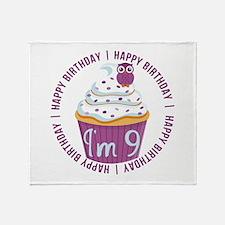 9th Birthday Cupcake Throw Blanket
