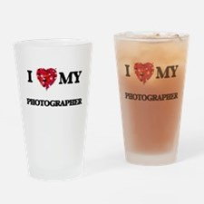 I love my Photographer hearts desig Drinking Glass