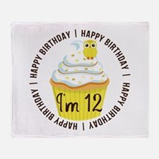 12th Birthday Cupcake Throw Blanket