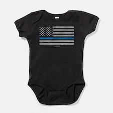 Law Enforcement Blue Line Flag Baby Bodysuit