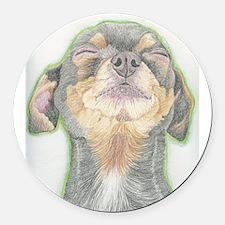 Black and Tan Chihuahua Dog Round Car Magnet