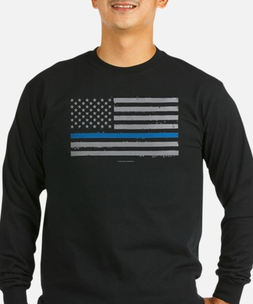 Law Enforcement Blue Line Flag Long Sleeve T-Shirt