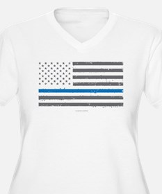 Law Enforcement Blue Line Flag Plus Size T-Shirt