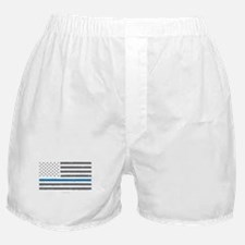 Law Enforcement Blue Line Flag Boxer Shorts
