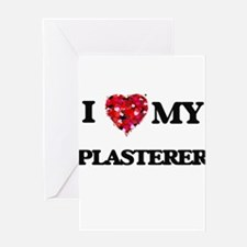 I love my Plasterer hearts design Greeting Cards