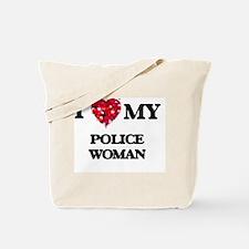 I love my Police Woman hearts design Tote Bag