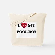I love my Pool Boy hearts design Tote Bag