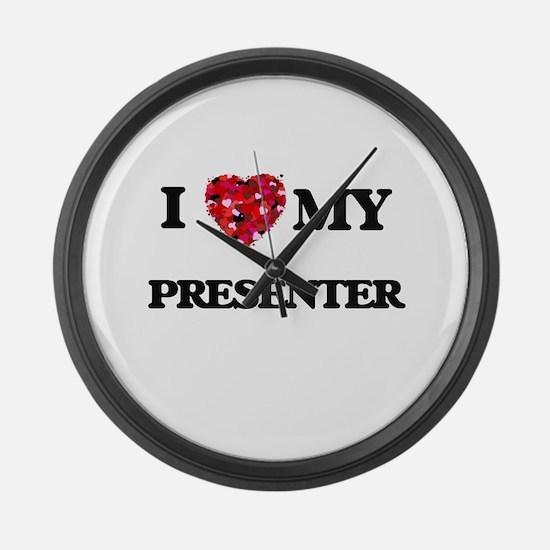 I love my Presenter hearts design Large Wall Clock
