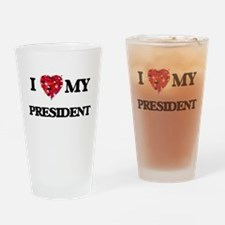 I love my President hearts design Drinking Glass