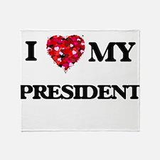 I love my President hearts design Throw Blanket
