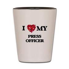 I love my Press Officer hearts design Shot Glass