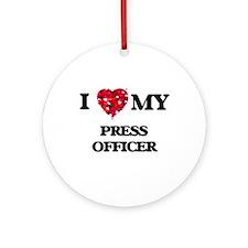 I love my Press Officer hearts de Ornament (Round)
