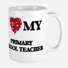 I love my Primary School Teacher hearts desig Mugs
