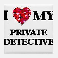 I love my Private Detective hearts de Tile Coaster