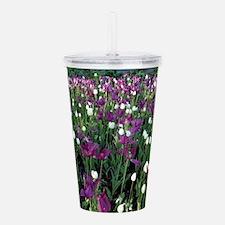 Purple & White Tulips Acrylic Double-wall Tumbler