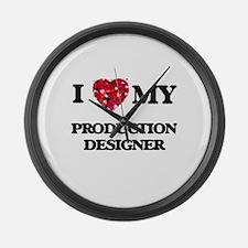 I love my Production Designer hea Large Wall Clock