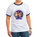 Wombies' Blue Group Portrait Ringer T