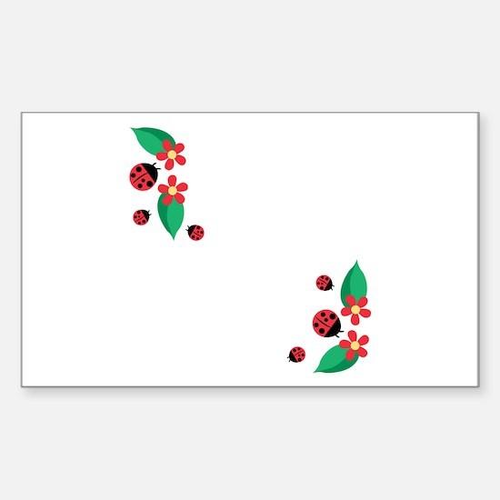 Ladybug Flowers Decal