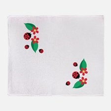 Ladybug Flowers Throw Blanket