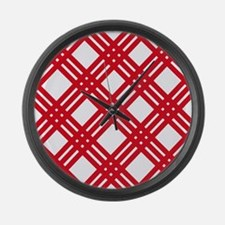 Red and White Lattice Gingham Large Wall Clock