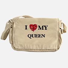 I love my Queen hearts design Messenger Bag