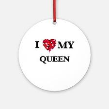 I love my Queen hearts design Ornament (Round)
