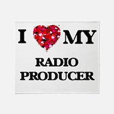 I love my Radio Producer hearts desi Throw Blanket