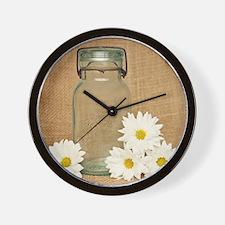 Vintage Mason Jar White Daisies Wall Clock