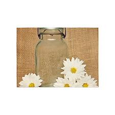 Vintage Mason Jar White Daisies 5'x7'Area Rug