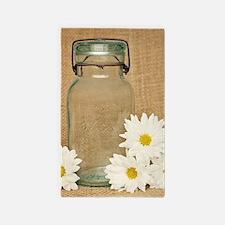 Vintage Mason Jar White Daisies Area Rug