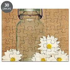Vintage Mason Jar White Daisies Puzzle