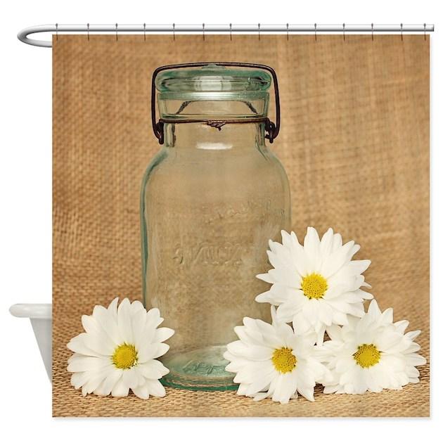 Vintage Mason Jar White Daisies Shower Curtain By