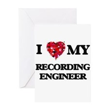 I love my Recording Engineer hearts Greeting Cards