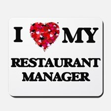 I love my Restaurant Manager hearts desi Mousepad