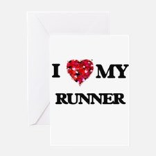 I love my Runner hearts design Greeting Cards