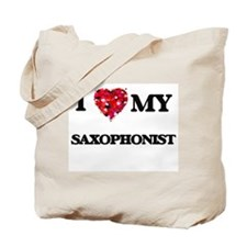 I love my Saxophonist hearts design Tote Bag