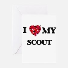 I love my Scout hearts design Greeting Cards